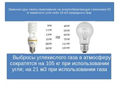 Заменив одну лампу накаливания на энергосберегающую сэкономим 3377 кг каменно...