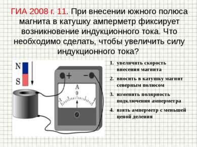 ГИА 2008 г. 11. При внесении южного полюса магнита в катушку амперметр фиксир...
