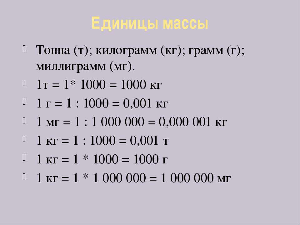 Единицы массы Тонна (т); килограмм (кг); грамм (г); миллиграмм (мг). 1т = 1* ...