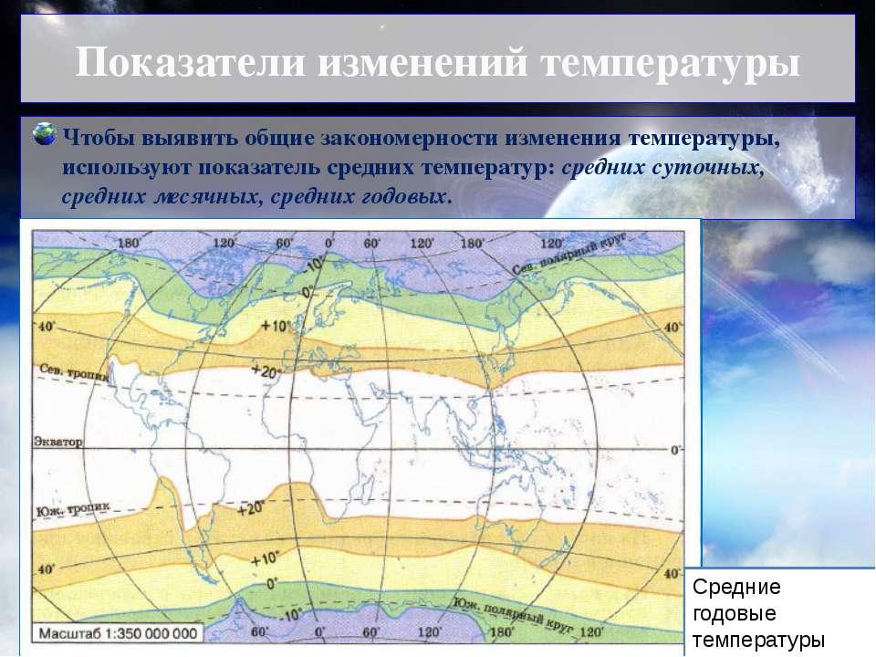 Показатели изменений температуры Чтобы выявить общие закономерности изменения...