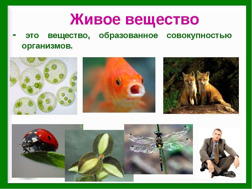 - это вещество, образованное совокупностью организмов. Живое вещество