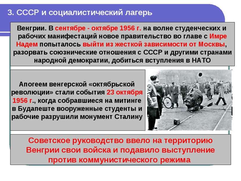 3. СССР и социалистический лагерь Венгрии. В сентябре - октябре 1956 г. на во...