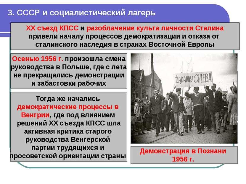 3. СССР и социалистический лагерь ХХ съезд КПСС и разоблачение культа личност...