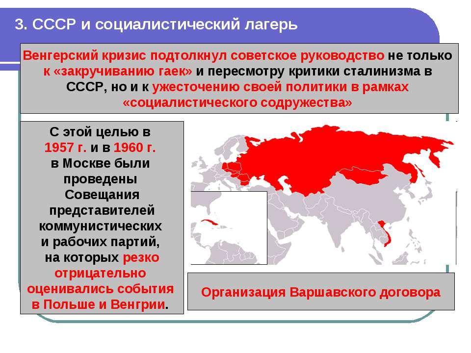3. СССР и социалистический лагерь Венгерский кризис подтолкнул советское руко...