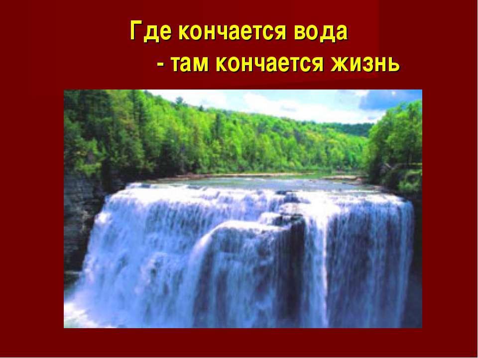 Где кончается вода - там кончается жизнь