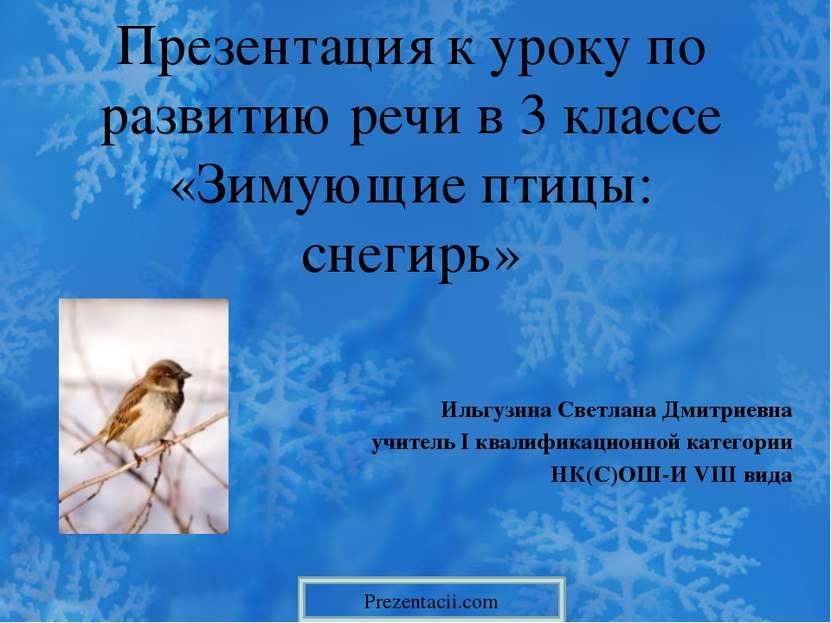 Презентация к уроку по развитию речи в 3 классе «Зимующие птицы: снегирь» Иль...
