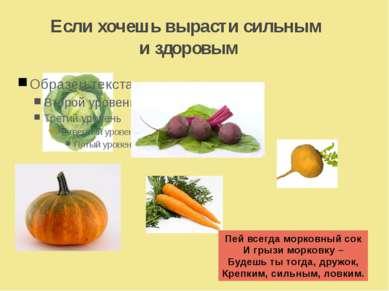 Если хочешь вырасти сильным и здоровым Пей всегда морковный сок И грызи морко...