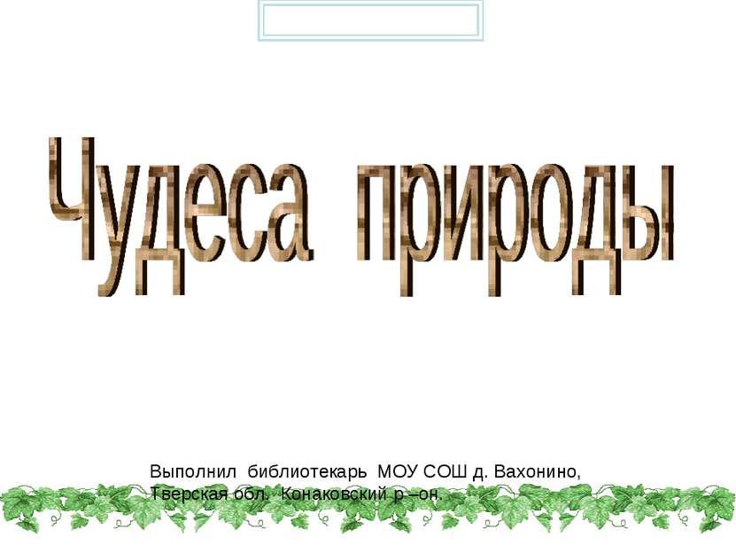 Выполнил библиотекарь МОУ СОШ д. Вахонино, Тверская обл. Конаковский р –он. P...