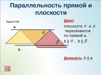 Параллельность прямой и плоскости Дано: плоскости и пересекаются по прямой а....