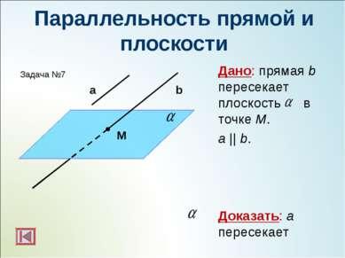 Параллельность прямой и плоскости Дано: прямая b пересекает плоскость в точке...