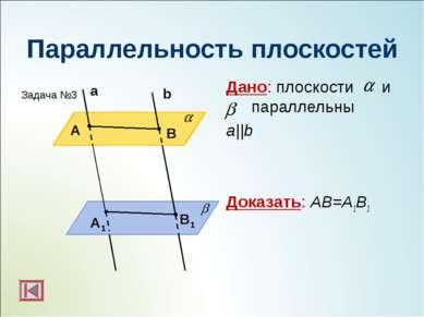Параллельность плоскостей Дано: плоскости и параллельны a||b Доказать: АВ=А1В...
