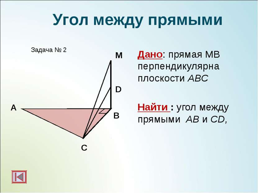 А B Задача № 2 М Угол между прямыми D C Дано: прямая МВ перпендикулярна плоск...