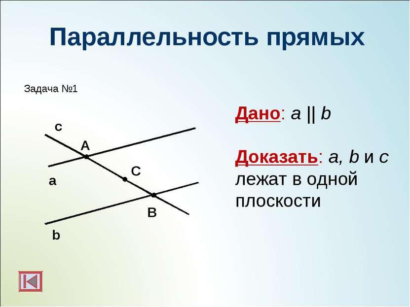 Параллельность прямых b а с А С В Дано: a || b Доказать: a, b и c лежат в одн...