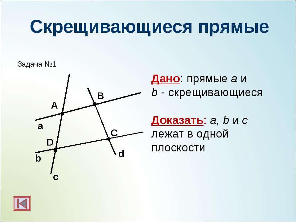 Скрещивающиеся прямые b а с А С В Дано: прямые a и b - скрещивающиеся Доказат...