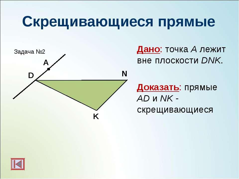 Скрещивающиеся прямые Дано: точка А лежит вне плоскости DNK. Доказать: прямые...