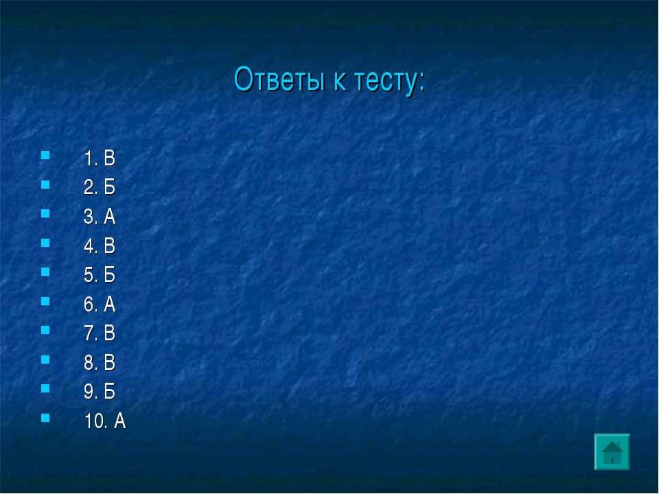 Ответы к тесту: 1. В 2. Б 3. А 4. В 5. Б 6. А 7. В 8. В 9. Б 10. А