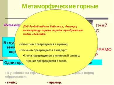 Метаморфические горные породы: Метаморфоз -превращение (с греческого) ГНЕЙС М...