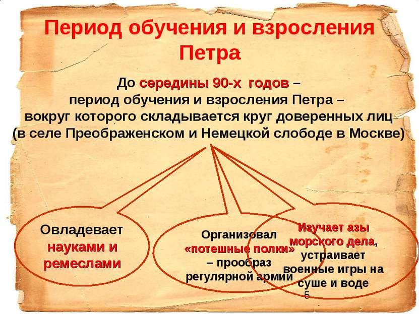 Период обучения и взросления Петра До середины 90-х годов – период обучения и...