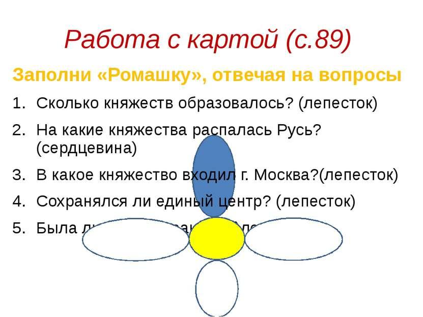 Работа с картой (с.89) Заполни «Ромашку», отвечая на вопросы Сколько княжеств...