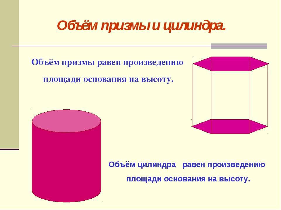 Объём призмы и цилиндра. Объём призмы равен произведению площади основания на...