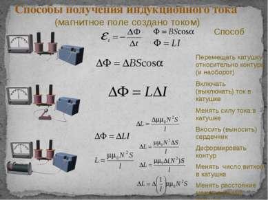 Способы получения индукционного тока (магнитное поле создано током) Способ Пе...