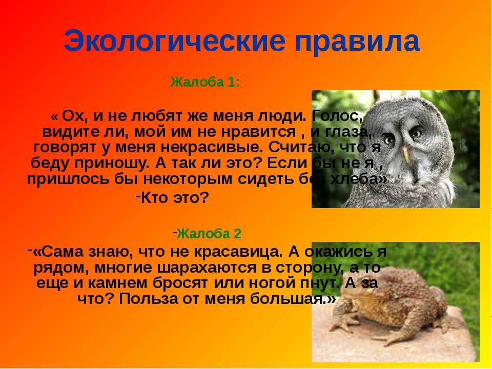 Экологические правила Жалоба 1: « Ох, и не любят же меня люди. Голос, видите ...
