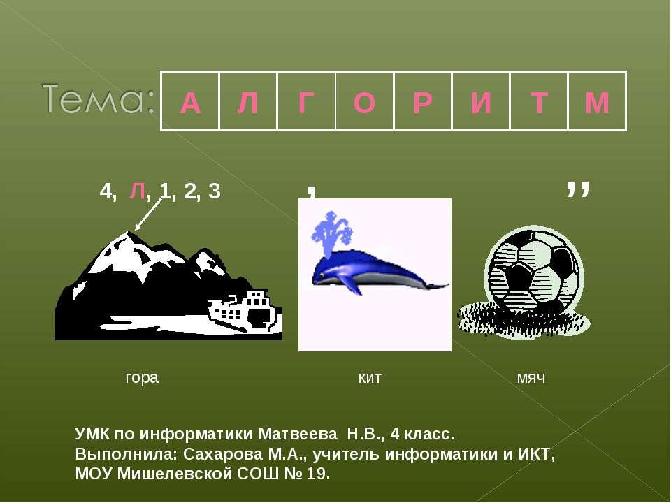 4, Л, 1, 2, 3 , ,, гора кит мяч А Л Г О Р И Т М УМК по информатики Матвеева Н...