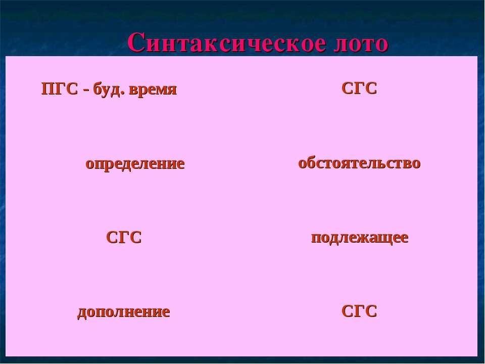Синтаксическое лото ПГС - буд. время СГС определение обстоятельство СГС подле...