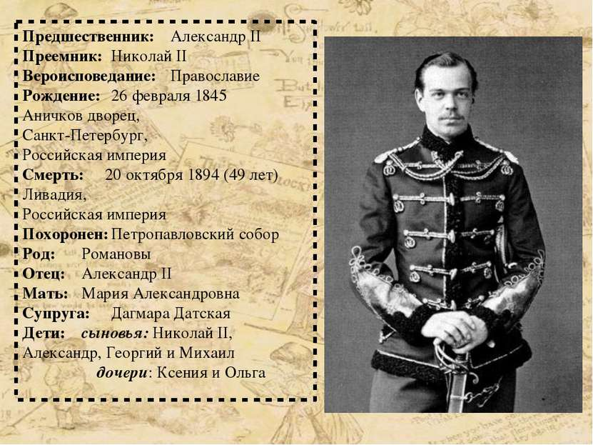 Предшественник: Александр II Преемник: Николай II Вероисповедание: Православи...