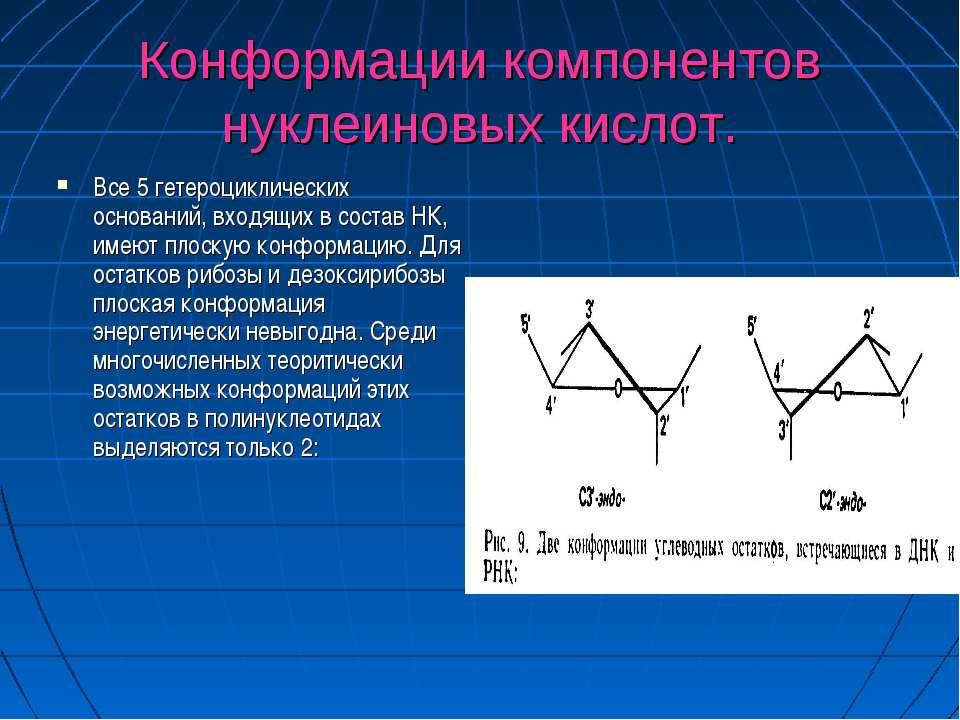 Конформации компонентов нуклеиновых кислот. Все 5 гетероциклических оснований...