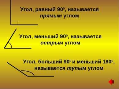Угол, равный 900, называется прямым углом Угол, меньший 900, называется остры...