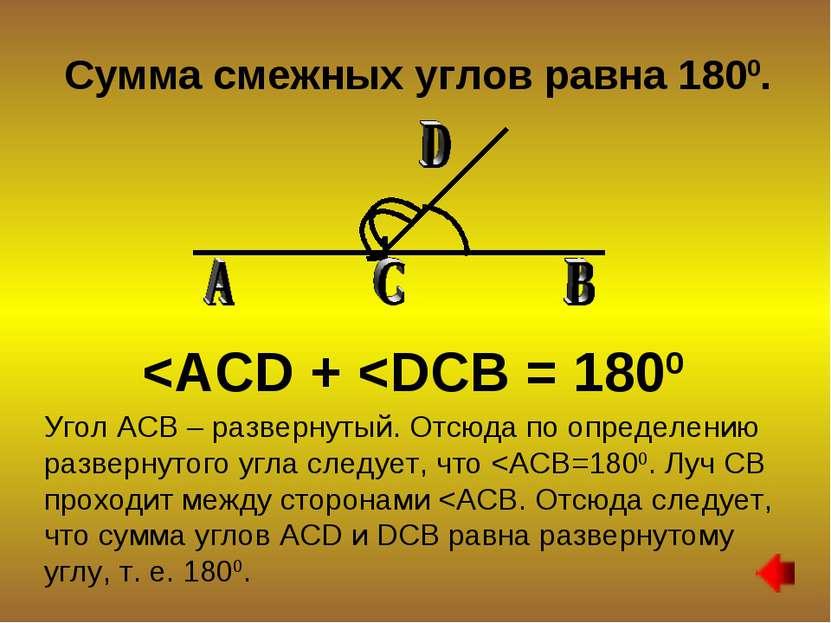 Сумма смежных углов равна 1800.