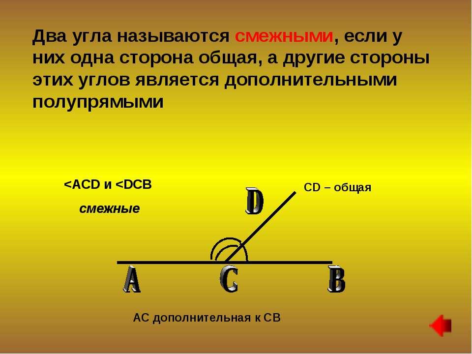 Два угла называются смежными, если у них одна сторона общая, а другие стороны...