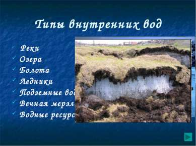 Типы внутренних вод Реки Озера Болота Ледники Подземные воды Вечная мерзлота ...
