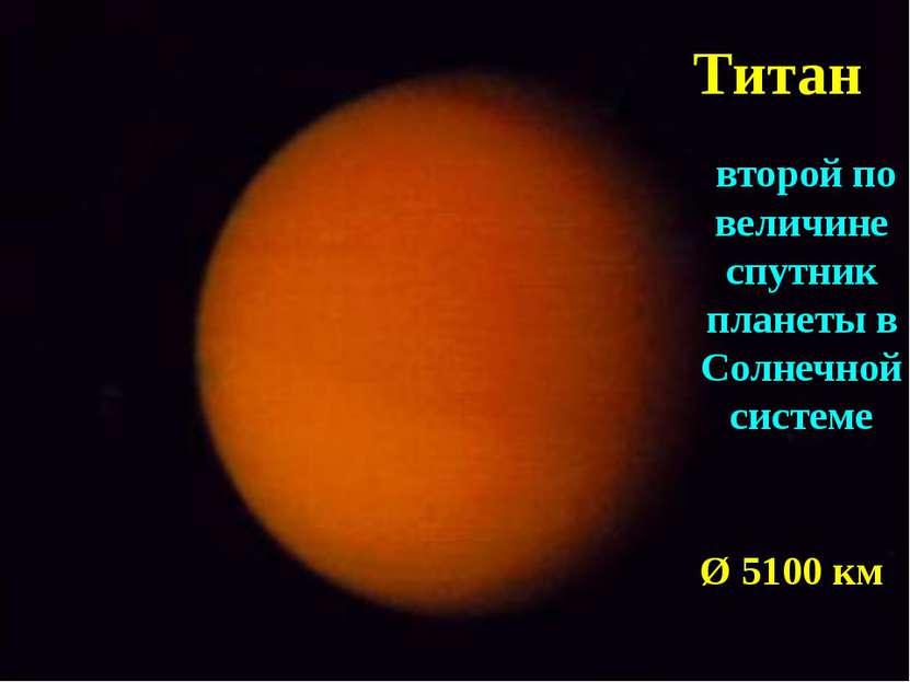 Титан второй по величине спутник планеты в Солнечной системе Ø 5100 км