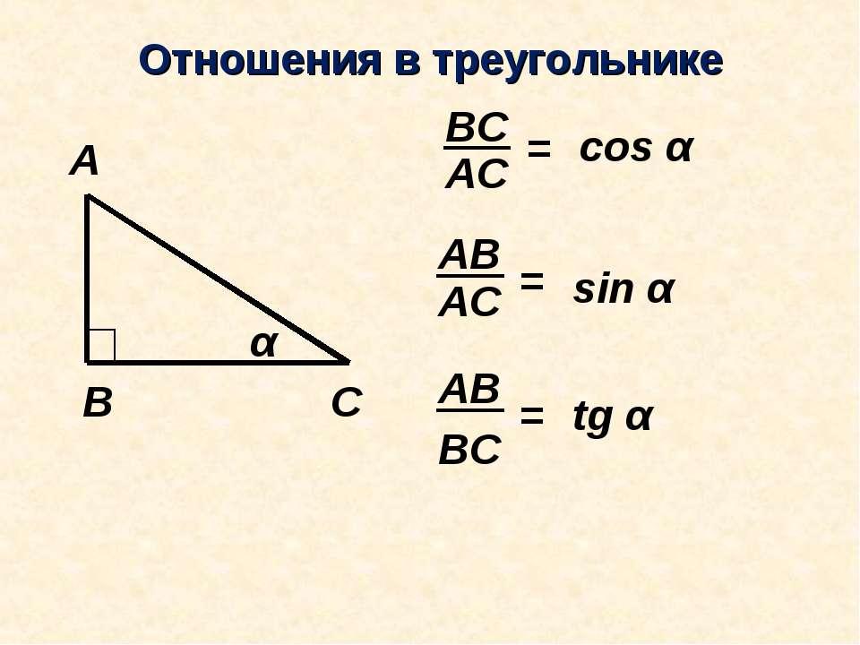 Отношения в треугольнике АС ВС = АС АВ = АВ ВС = cos α sin α tg α