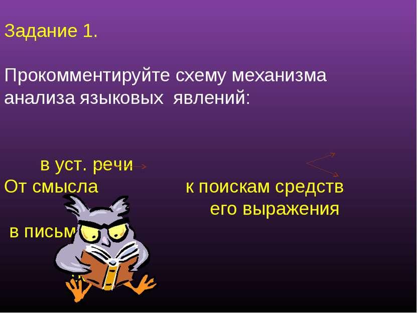 Задание 1. Прокомментируйте схему механизма анализа языковых явлений: в уст. ...
