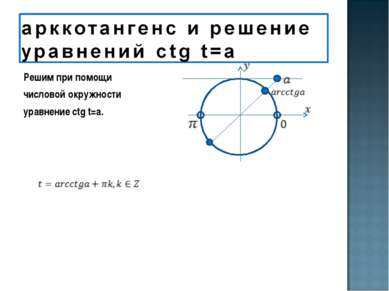 Решим при помощи числовой окружности уравнение ctg t=a.