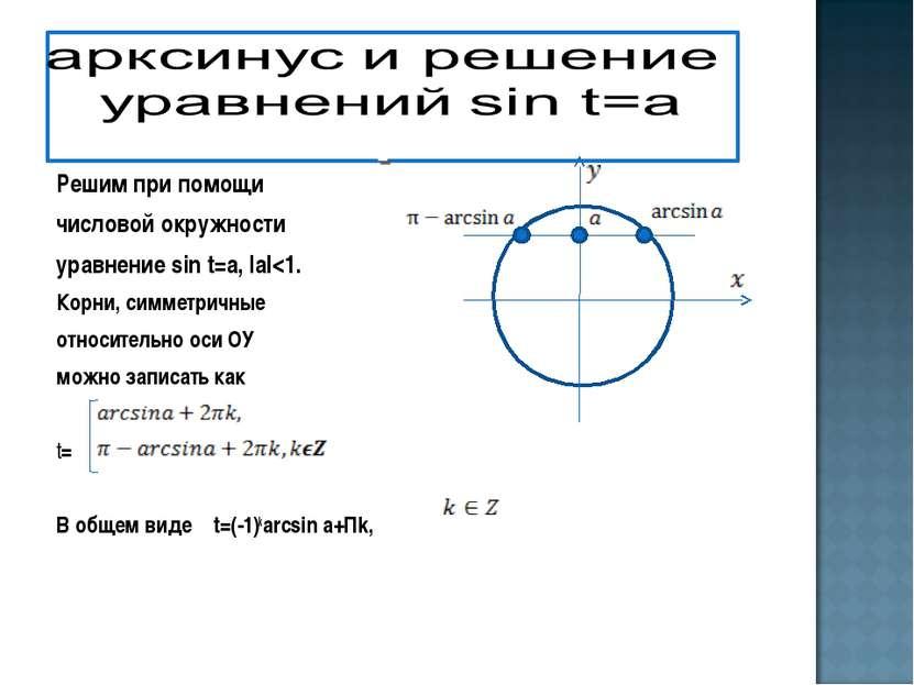 Решим при помощи числовой окружности уравнение sin t=a, IаI