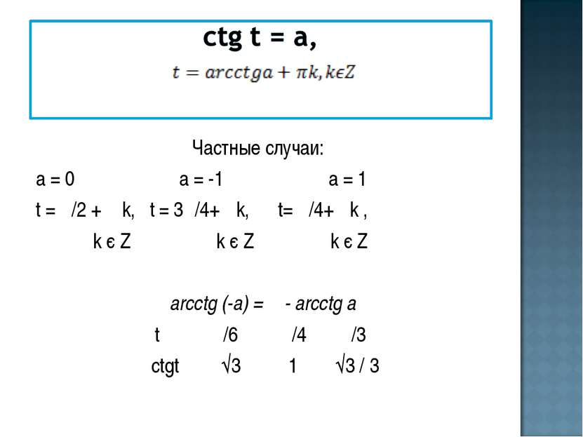Частные случаи: а = 0 а = -1 а = 1 t = π/2 + π k, t = 3π/4+ πk, t= π/4+ πk , ...