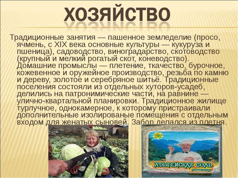 Традиционные занятия— пашенное земледелие (просо, ячмень, с XIX века основны...