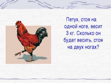 Петух, стоя на одной ноге, весит 3 кг. Сколько он будет весить, стоя на двух ...