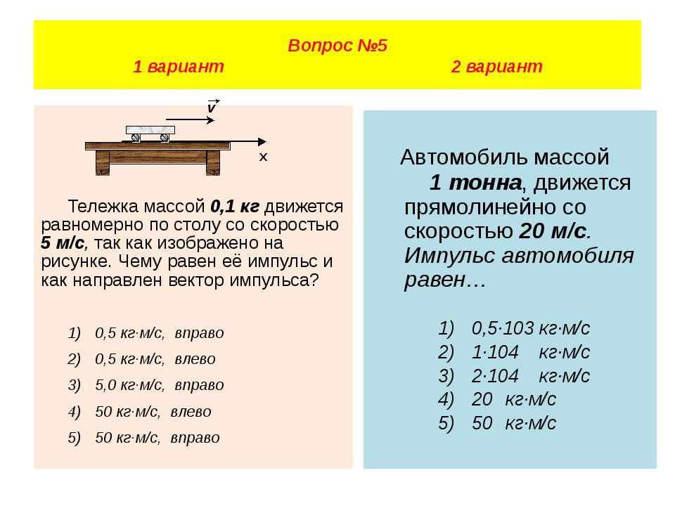 Тележка массой 0,1 кг движется равномерно по столу со скоростью 5 м/с, так ка...
