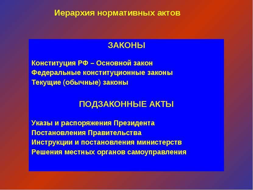 Иерархия нормативных актов ЗАКОНЫ Конституция РФ – Основной закон Федеральные...
