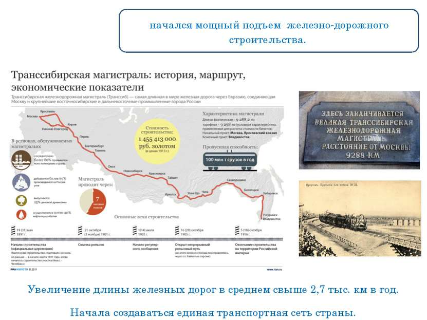 Увеличение длины железных дорог в среднем свыше 2,7 тыс. км в год. 1893 г на...
