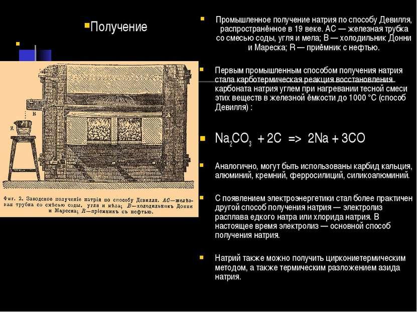 Промышленное получение натрия по способу Девилля, распространённое в 19 веке....