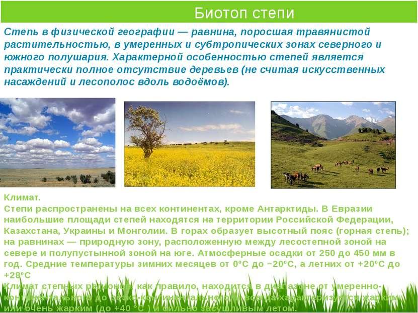 Биотоп степи Степь в физической географии — равнина, поросшая травянистой рас...