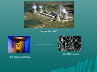 Современная АЭС 0,3г ядерного топлива 3000000 тон угля