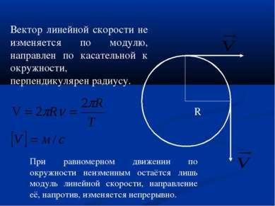 R Вектор линейной скорости не изменяется по модулю, направлен по касательной ...