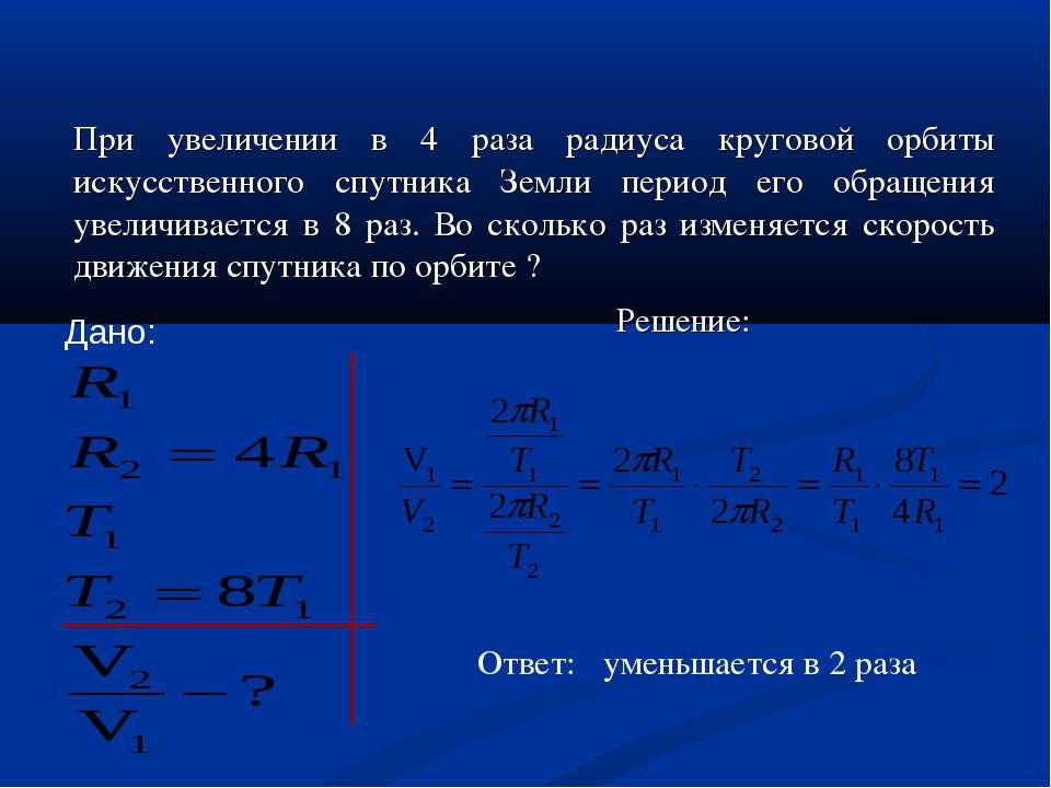 При увеличении в 4 раза радиуса круговой орбиты искусственного спутника Земли...